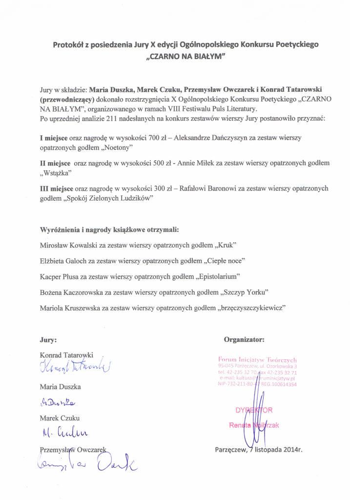 protokół konkursu podpisany