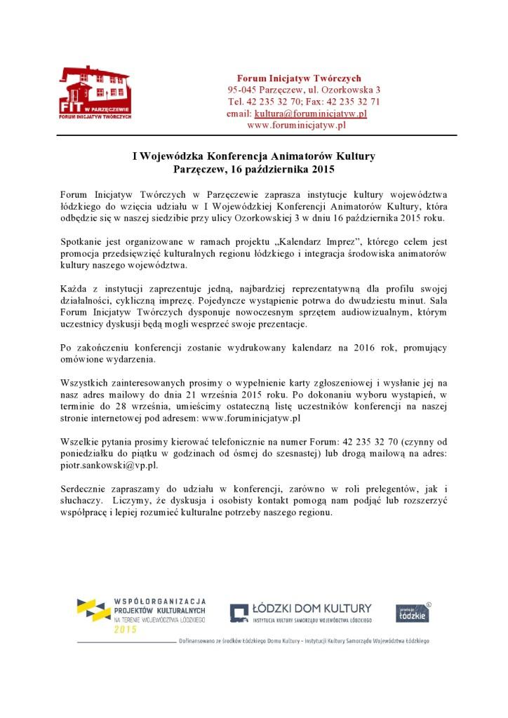 Zaproszenie na  Wojewódzką Konferencję Animatorów Kultury w FIT-page0001